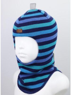 Шапка шлем зимняя для мальчика синяя полоска три цвета 1405-50