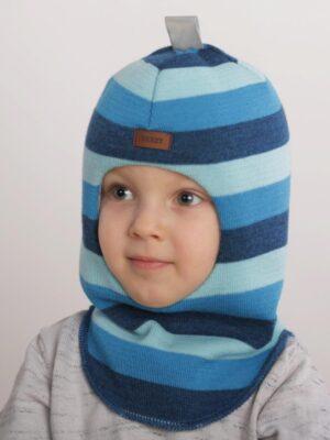 Шапка шолом зимова для хлопчика смужка бірюзово блакитна