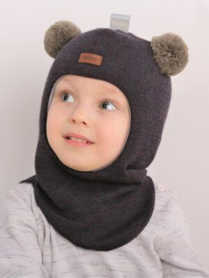 Шапка шлем серо коричневая два балабона