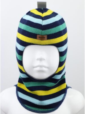 Шапка шлем зимняя для мальчика сине желтая полоска