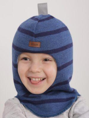 Шапка шолом зимова для хлопчика синя смужка 1405-48