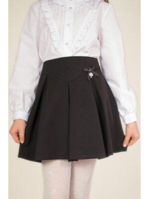 Юбка школьная для девочки с фигурной кокеткой и встречными складками