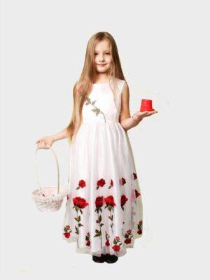 Платья для девочки белое с маками Мак Хлопчик с Коломыи