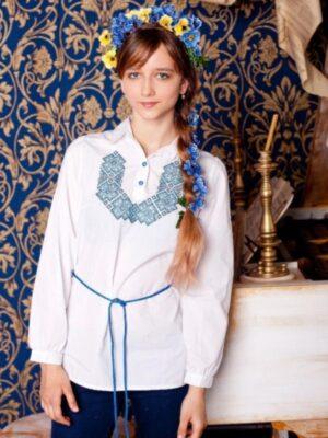 Вышиванка для девочки белая в голубую вышивку Калина