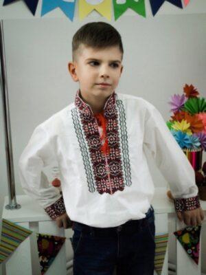 Вышиванка для хлопчика з червоним орнаментом Орнамент Piccolo