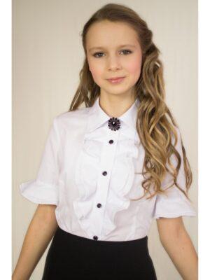 Блузка для дівчинки біла з коротким рукавом Мозаїка 5025 Albero