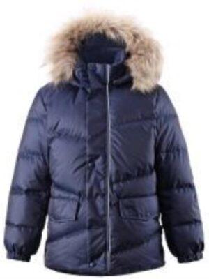 Куртка-пуховик для мальчика синяя с мехом