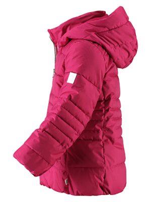 Зимова подовжена куртка вишневого кольору