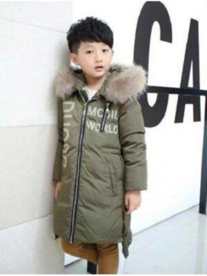 Куртка парка Пухова для хлопчика хакі