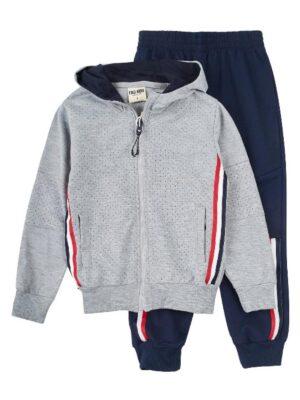 Костюм спортивний для хлопчика сірий з синіми брюками Grace