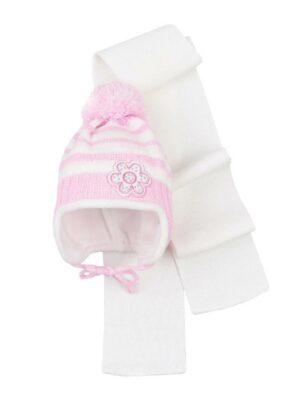 Комплект Зимовий для дівчинки світлий в смужку з квіткою