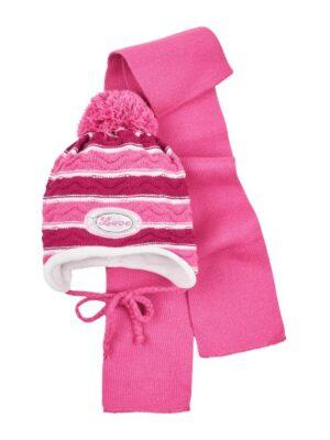 Комплект Зимовий для дівчинки смугастий бордо з білим