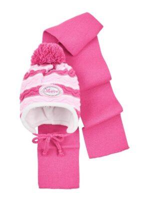 Комплект Зимовий для дівчинки смугастий фіолетовий з білим