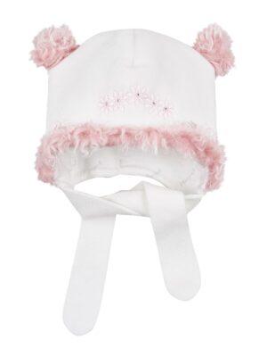 Шапка зимова для дівчинки світло рожева флісова