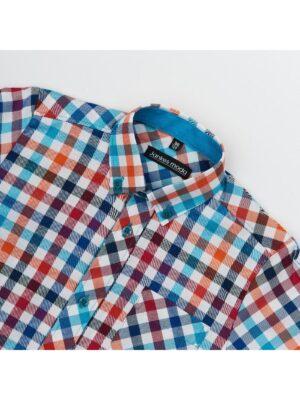 Сорочка для хлопчика яскрава в клітку з довгим рукавом
