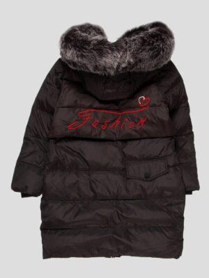 Пуховое пальто для девочки черное пуховое зимнее