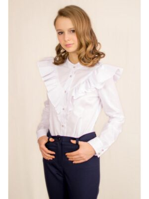 Блуза для девочки нарядная для школы белая с жабо Albero