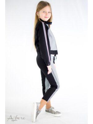 Жакет бомбер комбінований з сіро-чорної тканини