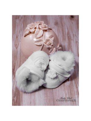 Пінетки Велюрові білого кольору з хутряною опушкою