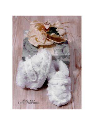 Пінетки хутряні білого кольору на липучці