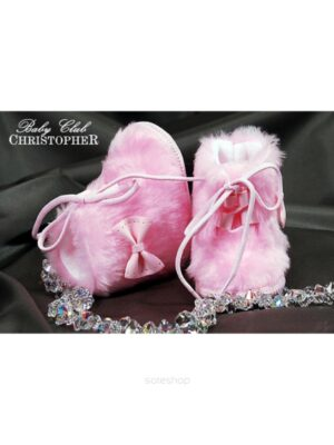 Пінетки-чобітки хутряні рожевого кольору
