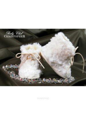 Пінетки-чобітки хутряні кремового кольору