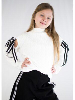 Джемпер для дівчинки молочний кісками з бантиками