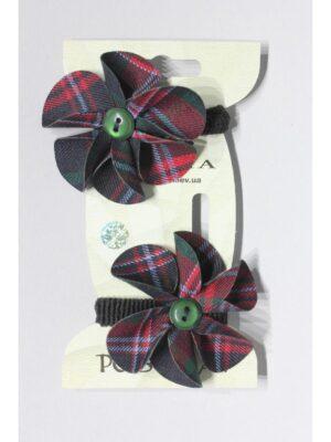 Резинки на волосы для девочки школьницы в зеленой клетке