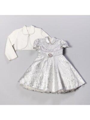 Сукня з болеро для дівчинки парча срібло