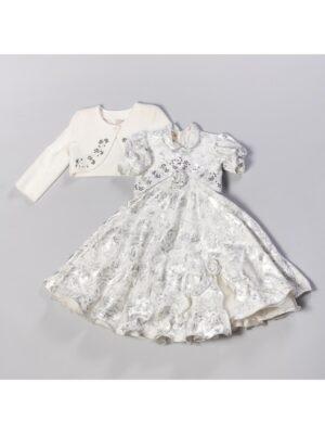 Платье нарядное с болеро новогоднее серебристая парча красивая