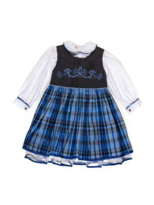 Сарафан с блузой для девочки с клетчатой синей юбкой