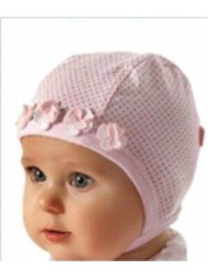 Шапочка рожева в крапочки ошатна для новонародженої дівчинки Jagienka