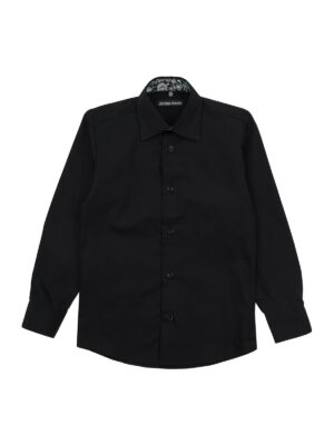 Сорочка для хлопчика чорного кольору з обробкою ворота