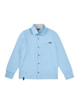 Трикотажный поло для мальчика голубого цвета на кнопках
