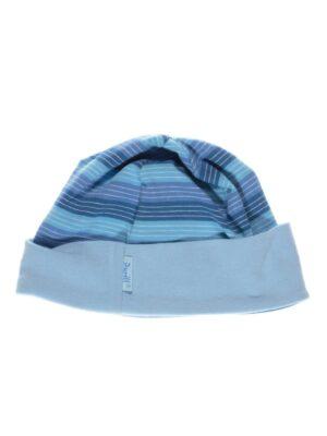 Шапка для дівчинки трикотажна Блакитна в смужку Wiosenka