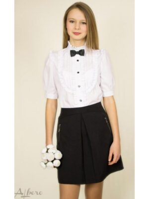 Блуза для дівчинки біла з жабо і метеликом