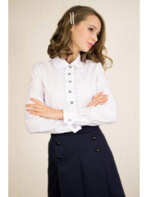 Блуза для дівчинки біла з красивою планкою на грудях