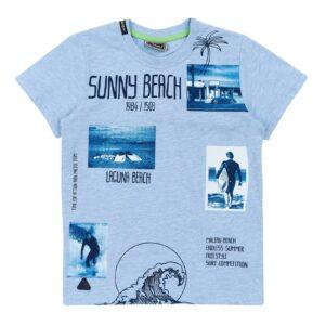 Футболка для мальчика с принтом пляжа светло голубая