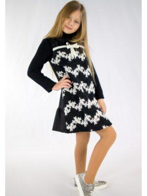 Сарафан для дівчинки чорний з декором квіти