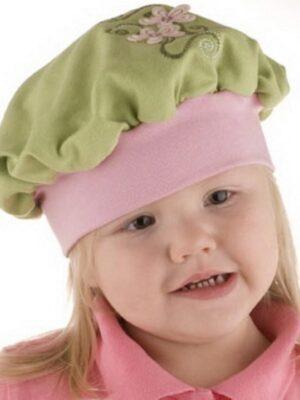 Берет для дівчинки зелений з рожевим кольором Mimoza