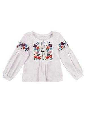 Вышитая блуза для девочки с пышным рукавом Ясочка