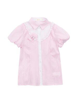 Блуза з коротким рукавом для дівчинки світло рожева з бантиками