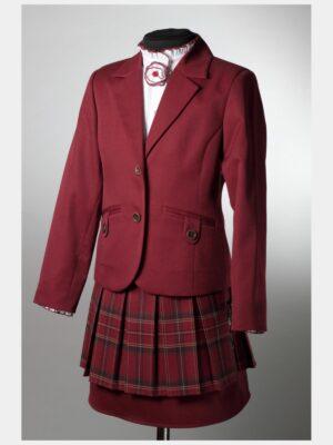 Школьный пиджак для девочки бордового цвета