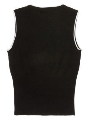 Жилет для дівчинки чорного кольору з бантиком і білою облямівкою