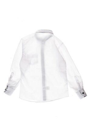 Сорочка для хлопчика біла з чорною вставкою на комірі