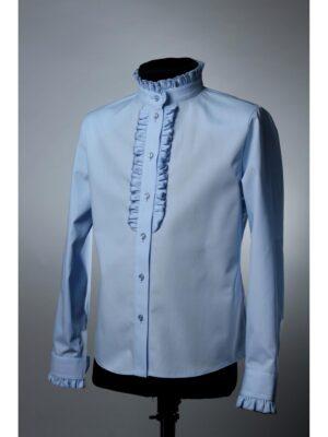 Блуза блакитна з жабо і довгим рукавом для дівчинки