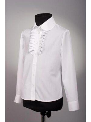 Блуза для дівчинки біла з жабо довгий рукав
