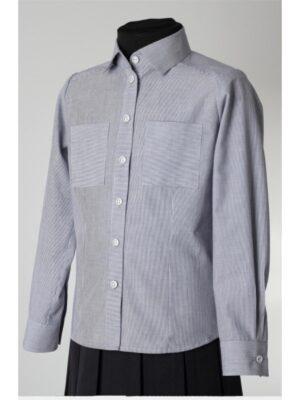 Блузка для дівчинки Блакитна в смужку бавовняна