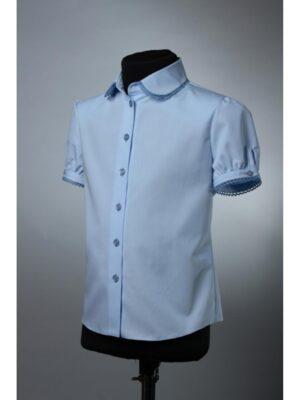 Блуза для дівчинки блакитного кольору з коротким рукавом 191г