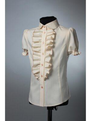 Блуза кремова для дівчинки короткий рукав 063 Велма